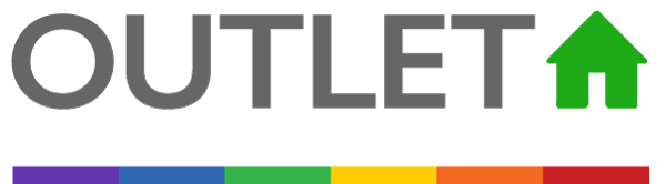 Outlet logo with LGBTQ+ rainbow flag
