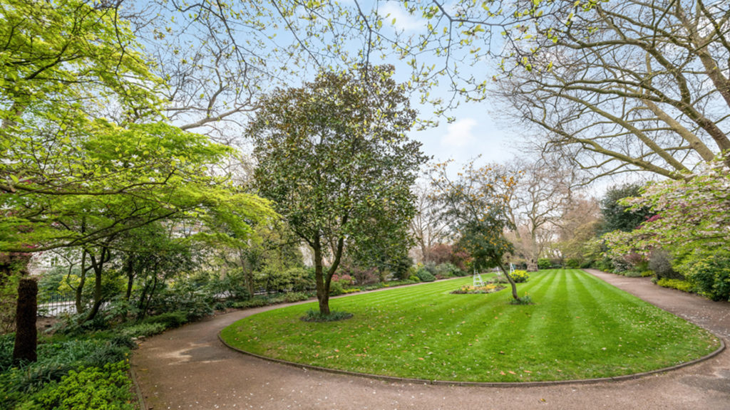 Outlet Residential London communal garden with lawn and trees