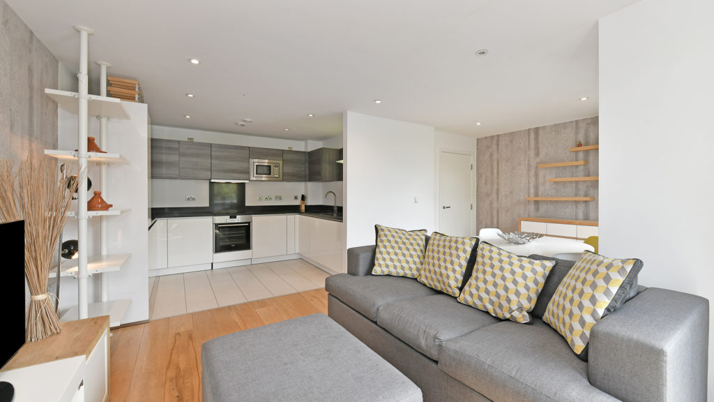 Outlet Residential London flat interior living room and kitchen